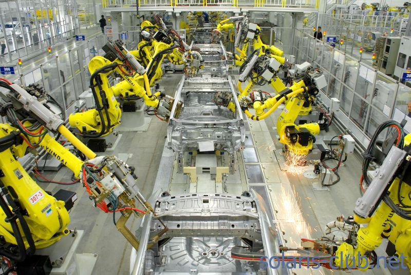 Роботы на производстве Hyundai Solaris