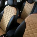 чехлы для Hyundai Solaris черно-бежевые ромб